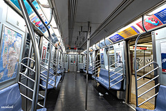 Subway  lines arrive,in Fulton St NYC  at rush hour, reach historical lows