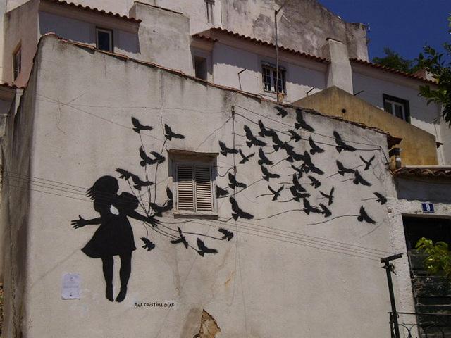 Stencil on wall.