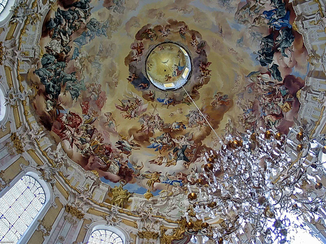 101 0195ac Outstanding Dome Fresco and Crystal Chandelier