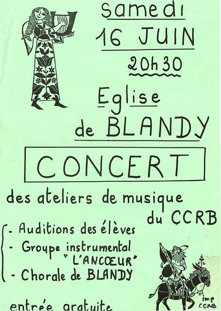 Concert des ateliers de musique à l'église de Blandy le 16/06/1990