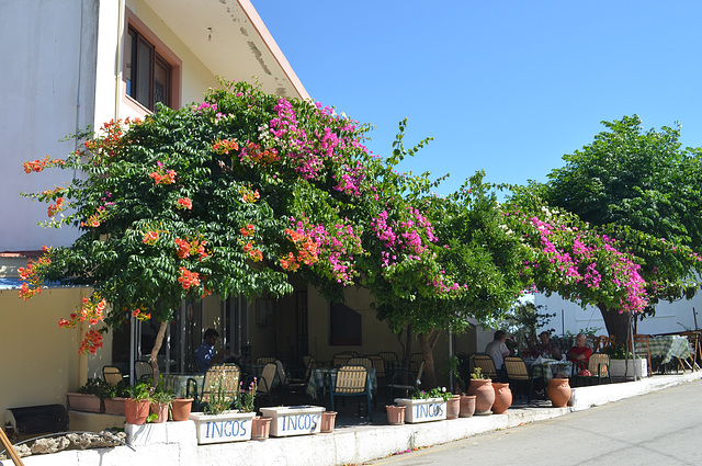 Rhodes, Street Cafe in Laerma