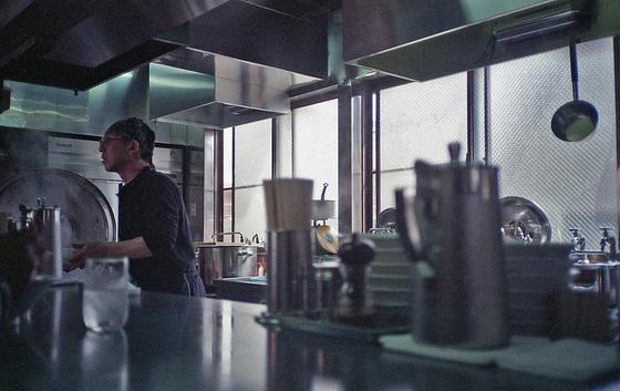 Kitchen of a ramen restaurant