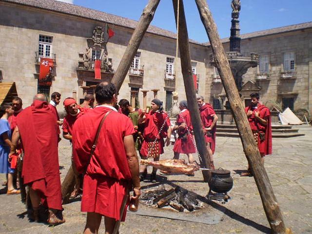 Barbecue in Roman camp.