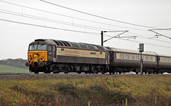 "DRS class 57 no 57305  ""Northern Princess"" on the rear of the Northern Belle Christmas Lunch circular. Dec 12th 2015"