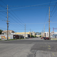 Starring role of high-up powerpoles in a western-U.S. style of urbanity.