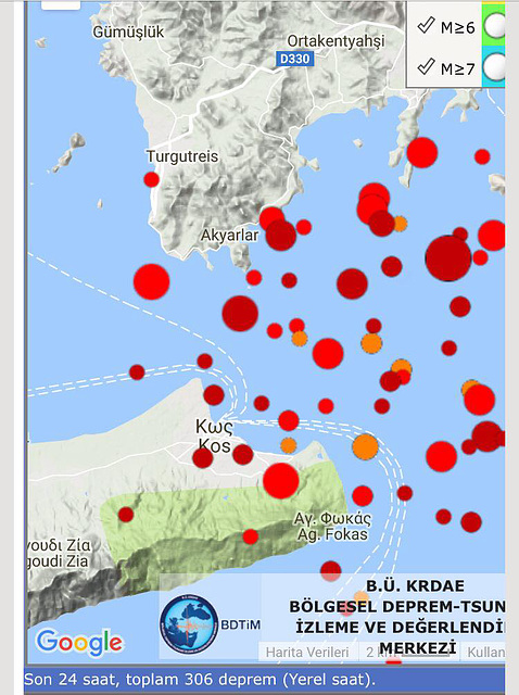 This shows the aftershocks positions