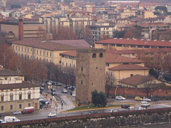 Zoom view to Zecca Vecchia Tower, on Piazza Piave.