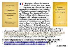 Rapport de la SDN sur l'espéranto (1922)
