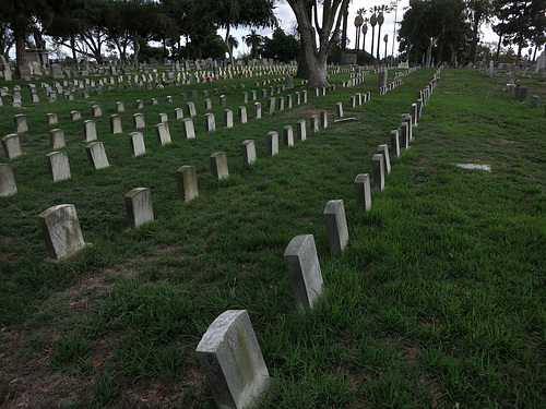 Veteran's Section In Angelus Rosedale Cemetery (1968)