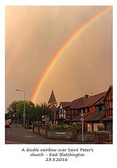 Rainbow over St Peter's East Blatchington - 23.5.2016