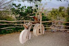 Israel, Eilat, Wooden Bike in the Botanical Garden