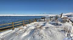 HFF  Chew reservoir in Winter fence.