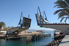 Israel, Eilat, Drawbridge over the Entrance Channel to the Lagoon