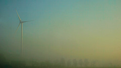 Windrad im Morgendunst...