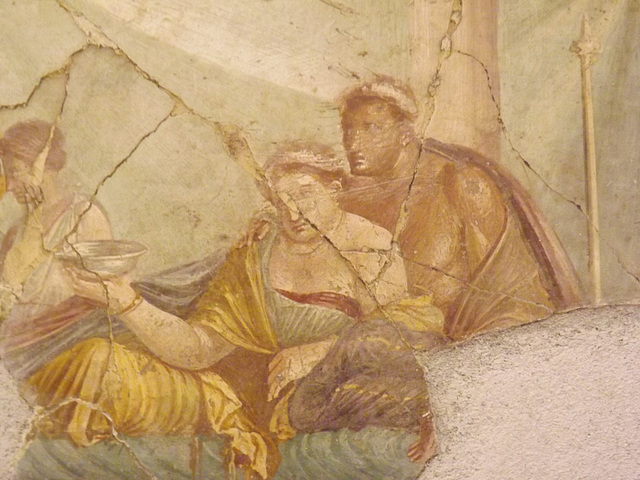 Detail of the Banquet Scene Wall Painting from the House of Joseph II in Pompeii in the Naples Archaeological Museum, July 2012