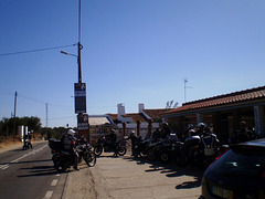 Motor bikers parking to have lunch.