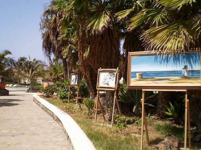 Outdoor paintings display.