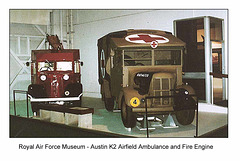 Austin K2 ambulance & fire engine  - RAF Museum - c1986