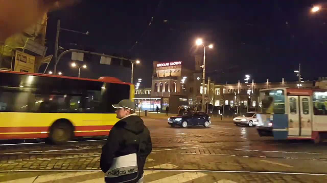 Trams passing Wroclaw Main Station