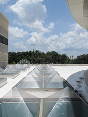 A convention center's plastic skylights, baking in Florida summer heat.