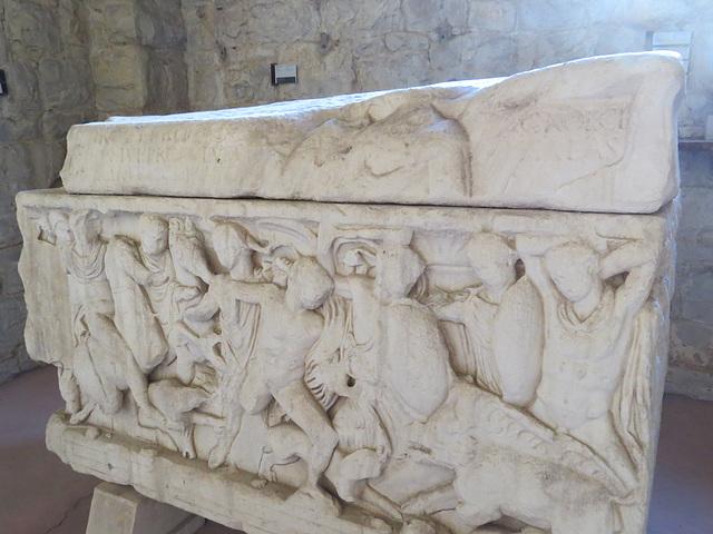 Musée archéologique de Split : sarcophage à la chasse du sanglier de Calydon.