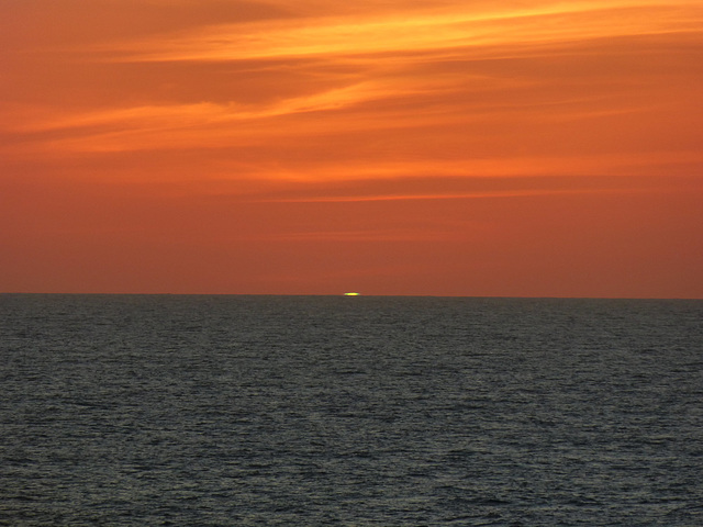 Green Flash During  2016 Pacific Ocean Cruise