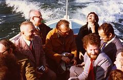 avec quelques choristes d'Harfa sur le bassin d'Arcachon en 1978