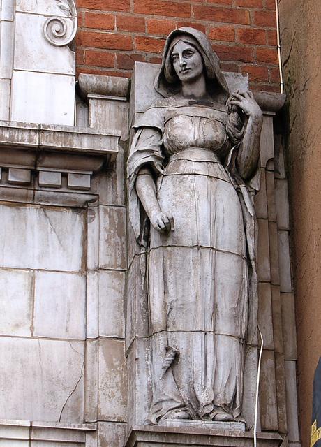 Terracotta Allergorical Figure by Gibbs and Canning, Digbeth Institute, Digbeth High Street, Birmingham