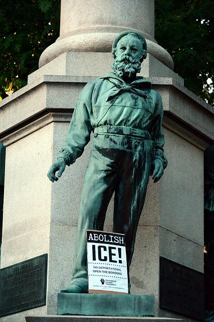 The Civil War memorial was decorated