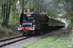 LMS class 8P Coronation 4-6-2 6233 DUCHESS OF SUTHERLAND with 1J62 14.30. Rawtenstall - Haywood at Summerseat 19th October 2018. (ELR)
