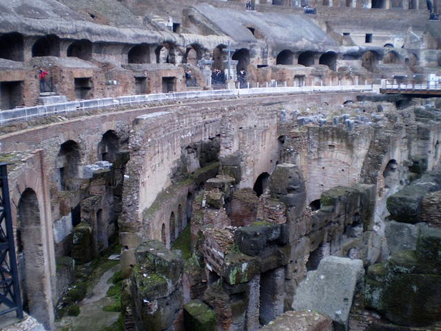A view over former underground of Colosseum.