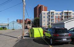 My favorite/favourite visitor attraction in downtown Sault Ste. Marie is this lime green dumpster.