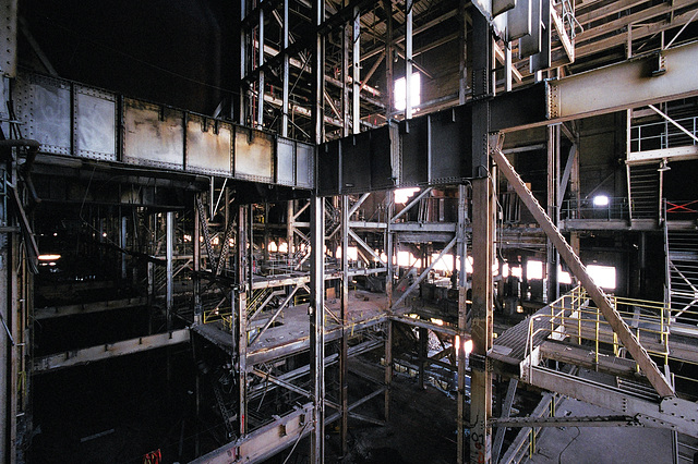 interior view of former location of forced air fan assemblies
