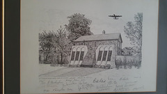 Pencil drawing of  the Dambusters memorial in Woodhall spa ~ Lincolnshire