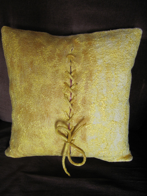 felted cushion - merino and viscose fibers