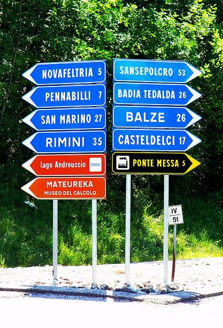 Pennabilli (RN). SP 258, Km 51, 400.  -   SP 258, main road from Tuscany to Rimini at Km: 51,400.
