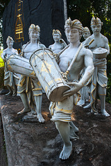 Sculptures as Balinese kendang players