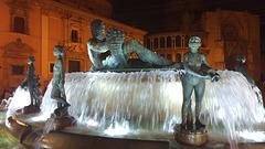 Valencia fountain at night