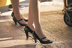 heels in street