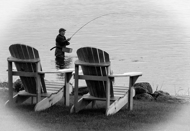 Chairs and fisherman, Maine