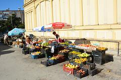 Albania, Vlorë, Street Market near the Old Building of Town Hall