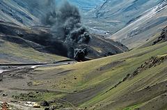 Truck fire on Ruta 7