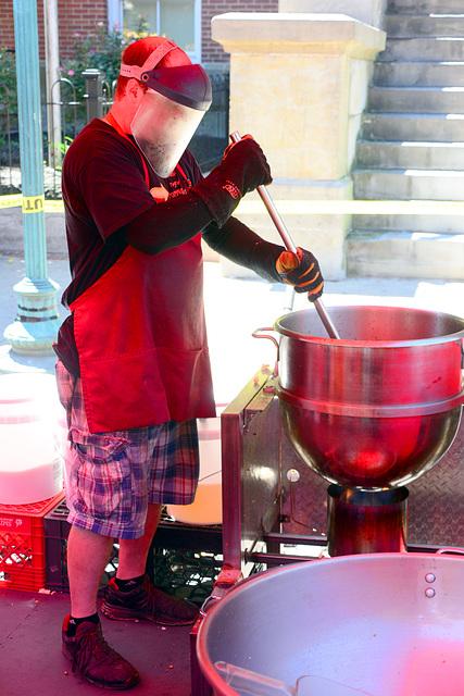 Making caramel corn on a hot, hot day