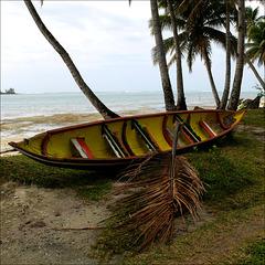 Stranded pirogue.
