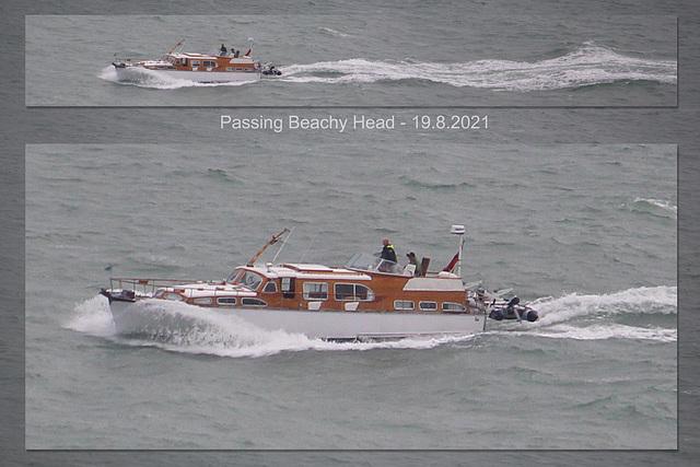 Cabin Cruiser passing Beachy Head 19 8 2021