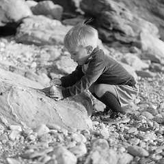 Playing with pebbles at St Agnes