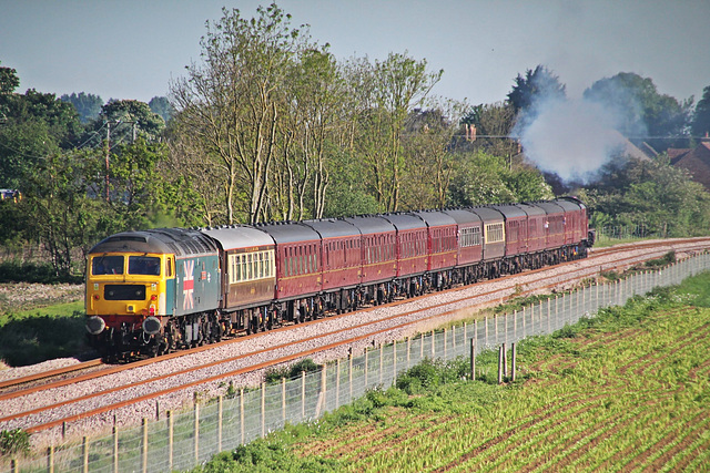 """LMS Jubilee Class 6P 4-6-0 no 45699 """"Galatea"""" with BR class 47 no 47580 """" County Of Essex"""" on the rear with """"THE SCARBOROUGH STEAM SPECIAL"""" May 17th 2014"""
