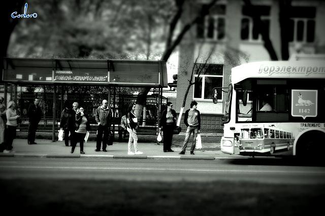 в ожидании транспорта