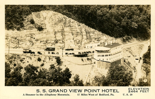 Grand View Ship Hotel: A Steamer in the Allegheny Mountains—Aerial View