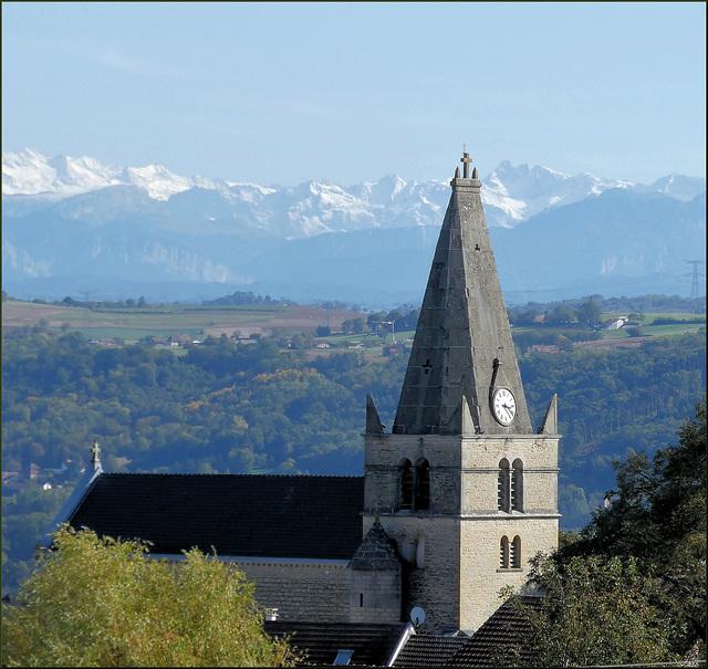 Saint-Hilaire-de-Brens (38) 16 octobre 2019. Vue sur les Alpes.